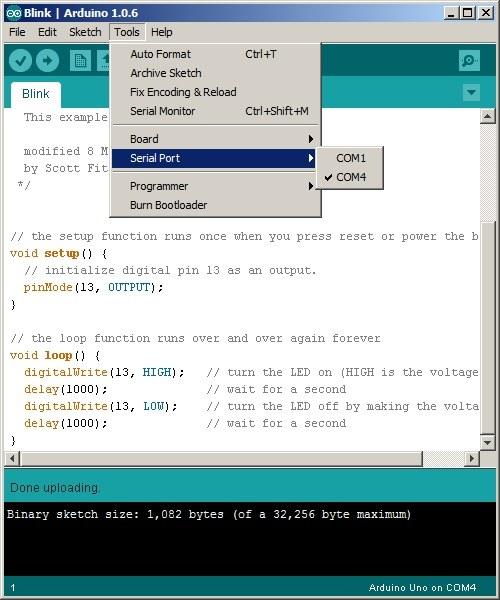 Arduino IDE COM Portu Seçimi